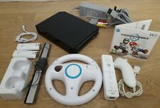 Nintendo Wii Black console with Mario Kart Game, Controller, Wheel, Nun Chuck ..