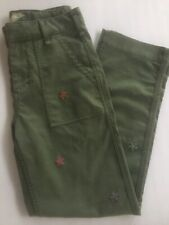 Anthropologie Pants Green Embroidered Flowers Size 26 Very Gently Worn EUC