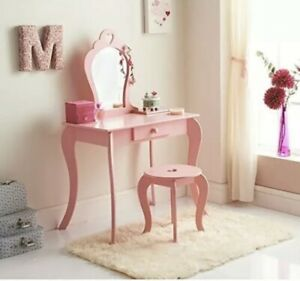 Amelia Wooden Vanity Set With Stool And Mirror Girls Dressing Table ((PINK))