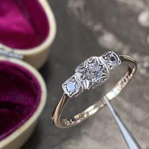 Art Deco 9ct Gold White Sapphire Ring not Diamonds Antique Engagement UK O 1/2