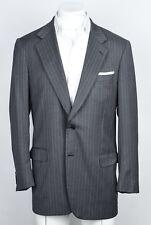 Brioni Italy Palatino Suit Jacket Blazer Sport Coat Gray Wool Striped US 44L 54L