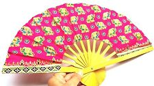 Golden Color Printed Thai Elephant Crafted Bamboo Wooden Folding Fabric Hand Fan