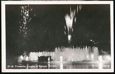 Nyc Ny World's Fair Lagoon of Nations Fireworks Vintage City Rppc Postcard Old