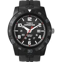 Mens Timex Indiglo Expedition Rugged Black Rubber Band Dial Date Watch T49831
