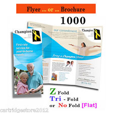 1000 Flyer/brochures [Fold or Flat] 8 1/2 x 11* 1or2 Side on Gloss 100 lb. book