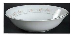 "9"" Round Vegetable Bowl MAYTIME Fine China Regis Pink Roses Brown Leave Platinum"