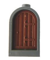 Lego kleine Tür + Rahmen dunkelgrau (dark bluish gray) braun (reddish brown)