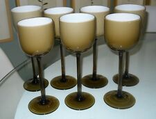 set 7 Moretti Italian Very Tall cased glass Goblet Taupe wine