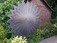 "LARGE 12""/30cm SILVER SPLASH Wind Spinner Iron Stop Garden Sun Catcher + Hook"