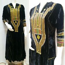 baaf182b7491 Vintage 70'S BLACK VELVET EMBROIDERED MAXI KAFTAN DRESS - Size M - EUC