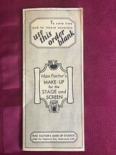Max Factor Theatre Makeup Brochures price order sheet 1947 RARE