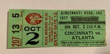 George Foster Reds Record Most RBIs 149 in Season Ticket Stub 10/2/77 Cincinnati