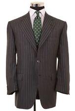 BIJAN Gray & White Chalkstripe SILK WOOL Blend 2pc Suit Jacket Pants 46 R