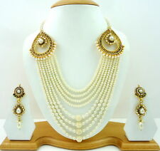 INDIAN TRADITIONAL WHITE PEARL CZ POLKI RANI HAAR NECKLACE SET BRIDAL JEWELRY