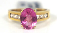 Pink Tourmaline Diamond Ring 14K Yellow Gold .42 Carat Diamond