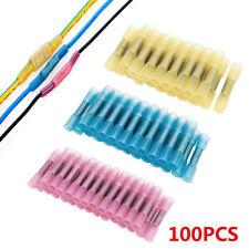 100pcs Heat Shrink Waterproof Butt Wire Electrical Crimp Connectors 10-22 Gauge