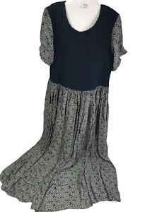 Vintage Dress Sz L Floral Boho Prairie Mori girl Farm Cool Colors Blue pleated