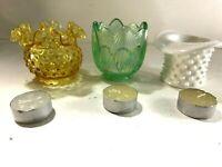FENTON ART GLASS: THREE CANDLE HOLDERS /  FAIRY LAMPS HOB NAIL & IRIDESCENT