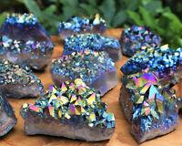 Rainbow Aura Amethyst Cluster - Titanium Aura Amethyst Crystal - Choose Size