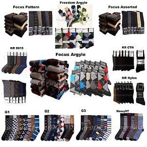 Men 6 12 Pack Dress Socks Fashion Casual Multi Pattern Design Argyle 9-11 10-13
