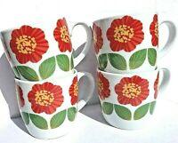 Now Designs Red Flower Poppy Floral Coffee and Tea Mug Set Of Four 12 Oz
