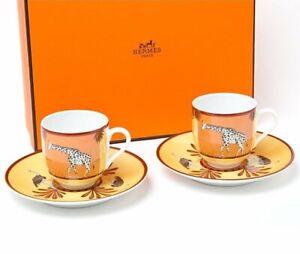 Hermes Espresso Coffee Cup Saucer Africa Orange Tableware 2 set Porcelain New