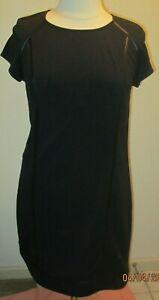 MOSSIMO sz XXL BLACK SHORT SLEEVE DRESS w/ FAUX LEATHER TRIM ACCENTS-WORN 1X