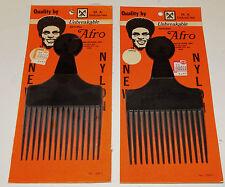 2 Vintage Nylon Black Afro Pick Comb M.A Industries Georgia USA