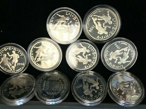 10 Coin 1994-S Proof WORLD CUP SOCCER SILVER Dollar LOT OF 10 w/Caps