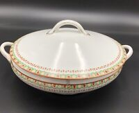 Antique Porcelain Nippon Hand Painted Handled Covered Serving Dish; Art Deco