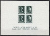 Stamp Germany Mi 647 Sc B103 Sheet 1937 War Reich Adolf Birthday Imperf MNH