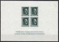Stamp Germany Mi 647 Sc B103 Sheet 1937 War Reich Adolf Birthday Imperf MNH
