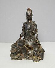 Chinese  Antique  Bronze  Statue  Of  Kwan-Ying  On  The  Elephant        M2059
