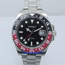 40mm Sapphire Glass Parnis 2813 Movement Men's Automatic GMT Watch Ceramic Bezel