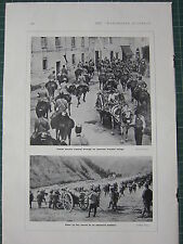 1915 WWI WW1 PRINT ~ ALPINI ON MARCH TO ADVANCED POSITION ~ ITALIAN CAVALRY