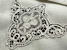 "Very Fine & Lovely Set 10 Antique Italian Cantu Lace & Linen Napkins 20"" ~Clean~"