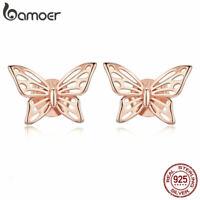 BAMOER Fine S925 Sterling silver Rose Stud Earrings Butterfly For Women Jewelry
