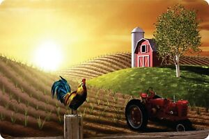 Roosters Dawns Morning Farm Barn Vehicle Plantation Crop Wall Art Aluminum Plate
