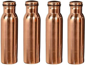 Indian 100% Copper Health Set Of 4 Pitcher Water Bottle Natural Ayurveda Benefit