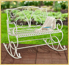 New listing Antique White Metal Rocking Bench Seat Outdoor Garden Patio Porch Deck Furniture