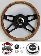 "1976-1995 Cherokee Wagoneer steering wheel JEEP 13 1/2"" WALNUT 4 SPOKE black"