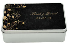 Personalised 18cm Black & Gold Luxury Metal Storage Tin Box - Add your own text