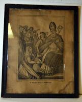 """19"""" Antique 1800s Print S. Biagio Blaise Vescovo e Martire Apicella Napoli"""
