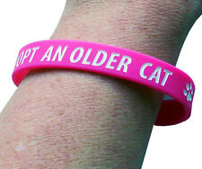 Adopter un vieux chat Charity Bracelet, rose, taille adulte, 100% à une Oeuvre Caritative