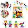 Wooden Tetris Building Block Puzzle Montessori Preschool Educational Home Toy