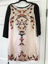 TWELFTH STREET BY CYNTHIA VINCENT Bird Silk 3/4 Sleeve Cocktail Dress Size S