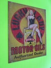 tin metal home garage repair shop man cave decor service station fuel lucky lady