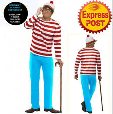 Where's Wally Waldo Adult Costume Men's Book Week Character Hat Top Pant Glasses