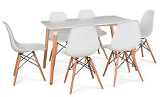 New Rectangle White Dining table and 6 Chairs Retro DSW Eiffel Style  Furniture