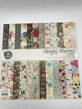 Simple Stories Florals Paper Pad 12 X 12 Scrapbooking Card Making 48 Sheets- New